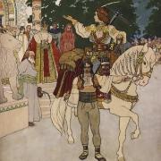 Artuš Scheiner, Tobiáš E. Tisovský: Král Myšák a princ Junák, kolem 1905, kolorovaná kresba tuší