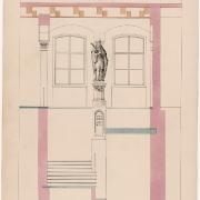 2 František Schmoranz, Interiér radnice se sochou knížete Svatopluka, 1866