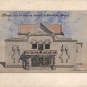 3a Luděk Mandaus, Projekt na přestavbu divadla - původní fasáda vstupu, 1925