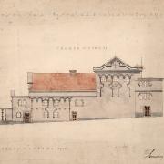 3c Luděk Mandaus, Projekt na přestavbu divadla -východní fasáda, 1925