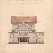 3d Luděk Mandaus, Projekt na přestavbu divadla - jižní vstupní fasáda, 1925