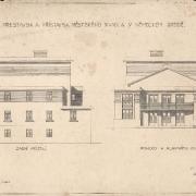 4b František Liška, Projekt na přestavbu a přístavbu divadla - vstupní a zadní fasáda, 1929