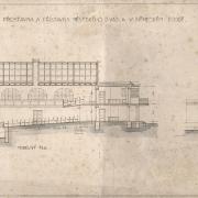 4d František Liška, Projekt na přestavbu a přístavbu divadla, příčný a podélný řez, 1929