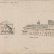 5 Hermann Hellmer ml., Návrh novostavby divadla - průčelí a boční pohled, 1929