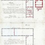 2. Ernest Teige, Pivovar Právovárečného měšťanstva, půdorys sklepů, přízemí a 1. patra, 1834