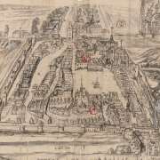 J. F. Beckovský. Mapa Německého Brodu, kolem 1700. Vyznačen dolní pivovar u radnice a horní na Vrabčím trhu.