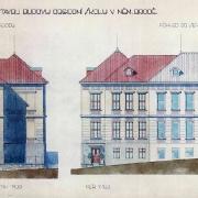 3 Prokop Šupich, Projekt na přístavbu obchodní školy, pohled od severu, 1930, SOkA Havlíčkův Brod