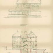 Ludvík Labler, Plán budovy gymnázia, řez, 1905, SOkA Havlíčkův Brod