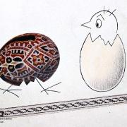 Bílá sobota: koláž a kresba karikaturisty a kreslíře Bohumila Štěpána z první poloviny 60. let 20. století – Kuře