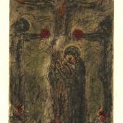 Velký pátek: dílo katolického básníka a grafika Bohuslava Reynka: Stabat matter (Panna Marie truchlící u kříže s ukřižovaným Kristem), kolorovaná suchá jehla s monotypem, japonský papír, 1966