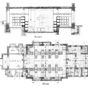 Prokop Šupich, Prováděcí plány sborové budovy náboženské obce Církve československé, půdorys a řez, 1927