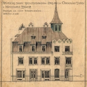 Neznámý autor, Návrh na novou architektonickou úpravu okresního domu v Něm. Brodě - varianta B, 1910 SOkA Havlíčkův Brod