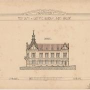 Karel Pokorný, Náčrtek poštovní a obytné budovy od jihu, 1907, SOkA Havlíčkův Brod