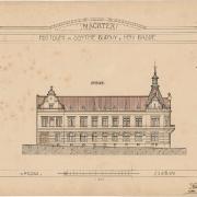 Karel Pokorný, Náčrtek poštovní a obytné budovy od západu, 1907, SOkA Havlíčkův Brod