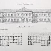 Karl Schlimp, Návrh budovy výpravní stanice, fasáda a půdorys přízemí a patra, 1869